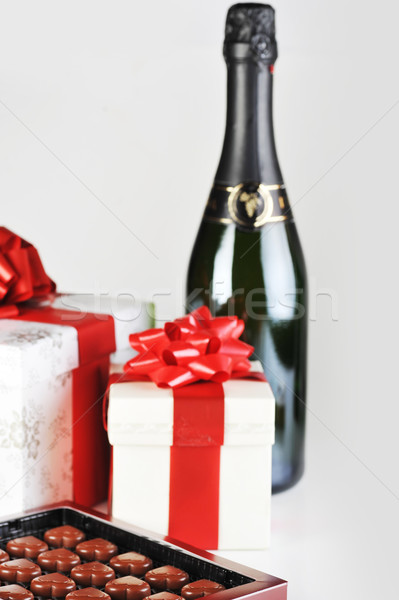 chocolate in box and champagne Stock photo © taden