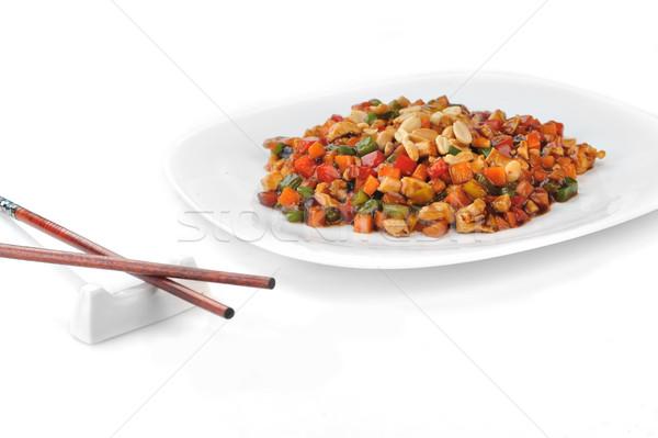Gestoomd groenten vlees pinda plaat chinese Stockfoto © taden
