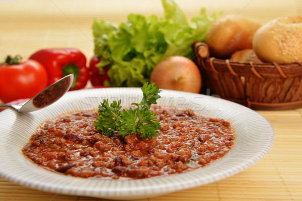 Quente pimenta tigela feijões carne Foto stock © taden