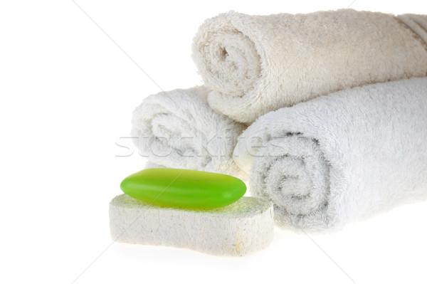 Stockfoto: Handdoek · groene · zeep · spons · witte · gezondheid