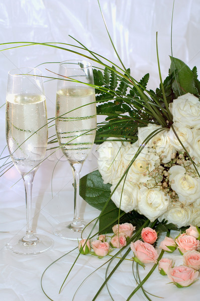 champagne and roses Stock photo © taden