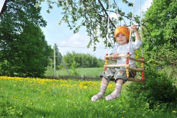 ストックフォト: 女の子 · 公園 · 春 · 赤ちゃん · 顔 · 木
