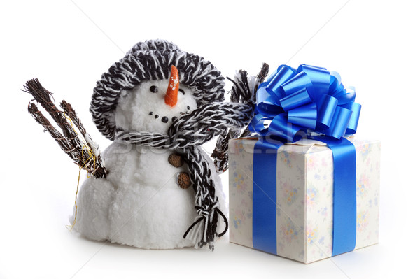 snowman and giftbox on white  Stock photo © taden