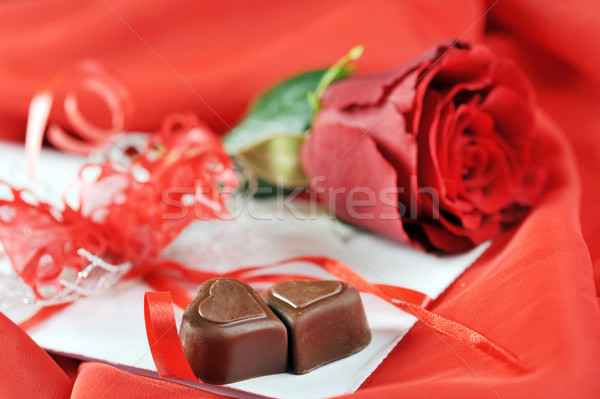 chocolate and rose Stock photo © taden
