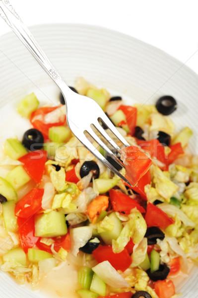 Lezzetli salata sebze beyaz plaka gıda Stok fotoğraf © taden