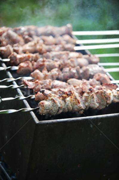 ストックフォト: 肉 · スライス · 準備 · ソース · 火災 · 草