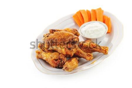 Pollo alas plato caliente zanahorias alimentos Foto stock © taden