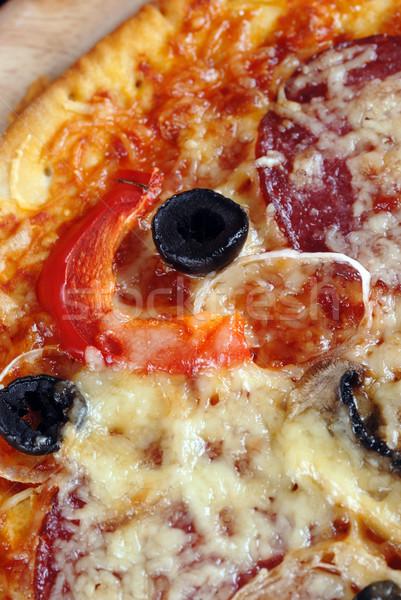 Pizza fresche pepperoni olive peperoni Foto d'archivio © taden