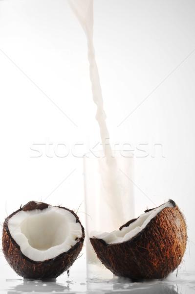 кокосовое молоко стекла пить еды падение белый Сток-фото © taden