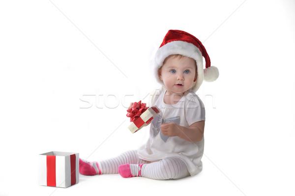 baby girl in Santa hat Stock photo © taden