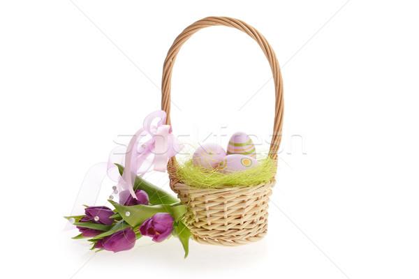 корзины пасхальных яиц плетеный Purple тюльпаны Пасху Сток-фото © taden