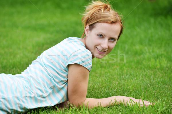 Genç kadın rahatlatıcı yeşil kız yüz kadın Stok fotoğraf © taden