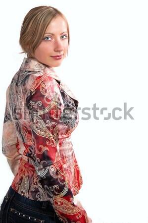 Retrato aislado blanco mujeres feliz Foto stock © taden