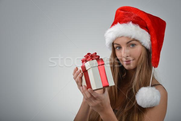 Papá noel hermosa sombrero caja de regalo Foto stock © taden