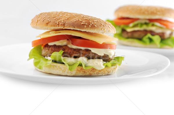 Hamburger warzyw naczyń tabeli grupy pszenicy Zdjęcia stock © taden