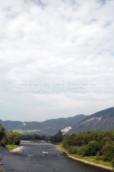 Rafting twee bomen reizen boot steen Stockfoto © taden