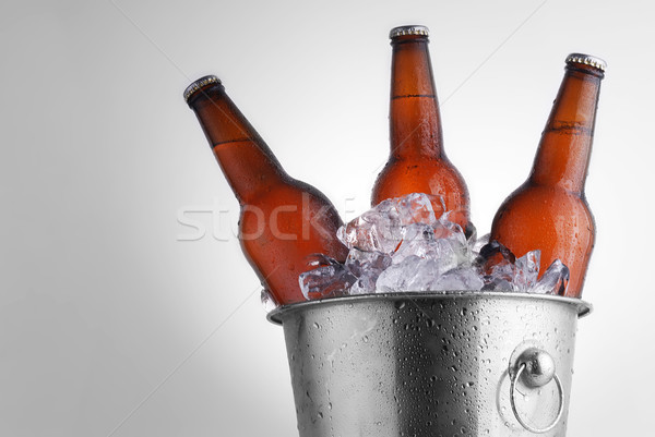 Stok fotoğraf: Bira · şişeler · üç · kahverengi · buz · kova