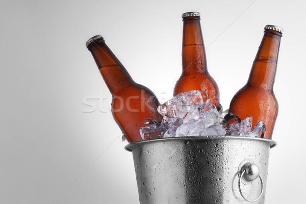 Bier flessen drie bruin ijs emmer Stockfoto © taden