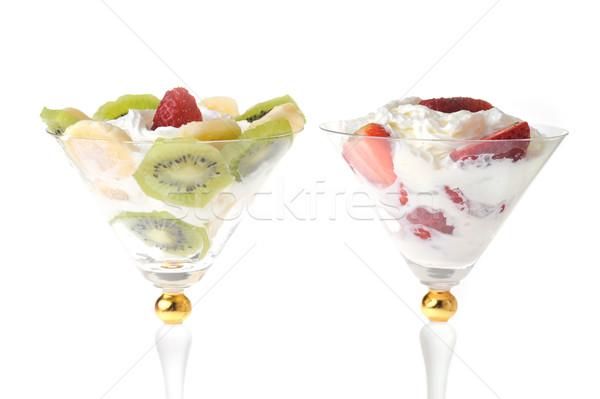 Vruchten slagroom vers gehakt aardbeien kiwi Stockfoto © taden