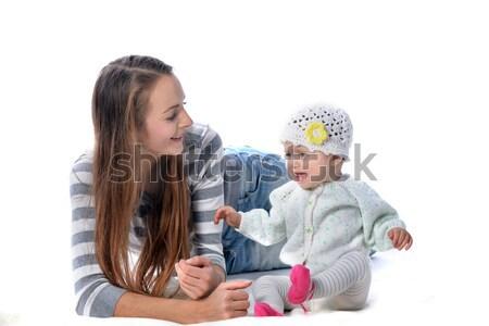 Mère bébé jeunes jouer étage Photo stock © taden