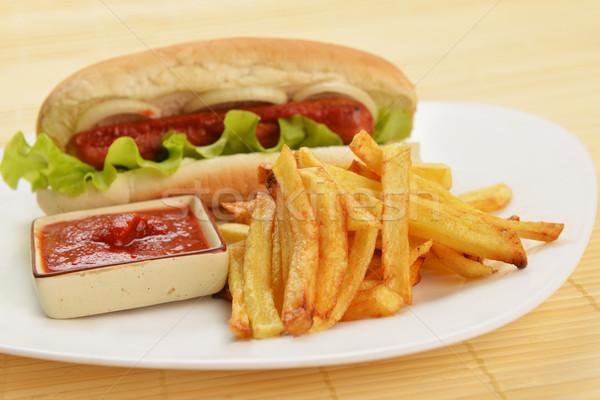 аппетитный Hot Dog вкусный фри белый пластина Сток-фото © taden