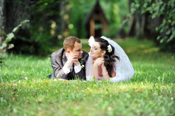 Foto stock: Noivo · noiva · casal · mentir · grama · verde · campo