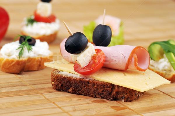 сэндвич ветчиной сыра другой овощей зеленый Сток-фото © taden