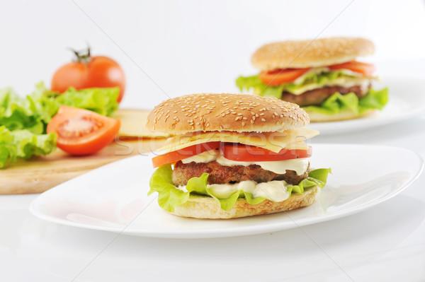 Сток-фото: гамбургер · овощей · белый · продовольствие · кухне · таблице