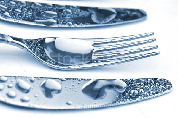 Argenterie prêt fond table groupe Photo stock © taden