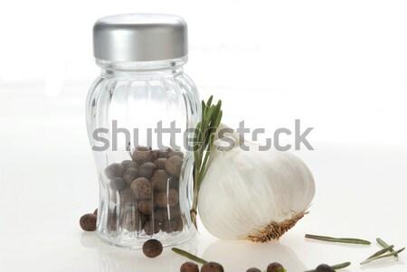 üveg bors fokhagyma rozmaring föld fűszer Stock fotó © taden