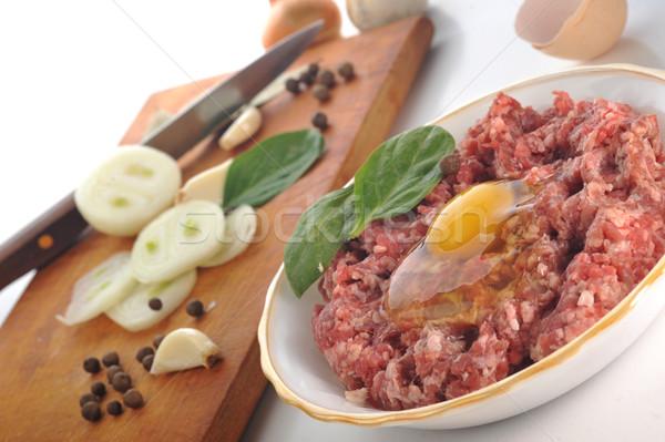 Składniki domowej roboty ziemi wołowiny jaj żywności Zdjęcia stock © taden