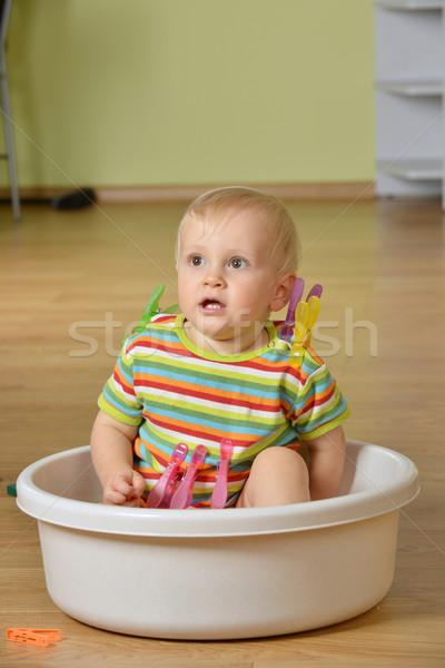 Weinig jongen cute kid vergadering witte Stockfoto © taden