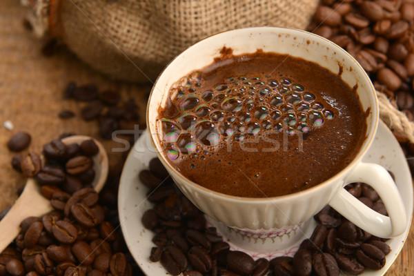 Kávé csésze pörkölt fa kávé háttér Stock fotó © taden