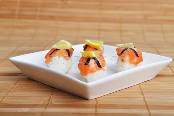 寿司 鮭 レモン 竹 ナプキン 食品 ストックフォト © taden
