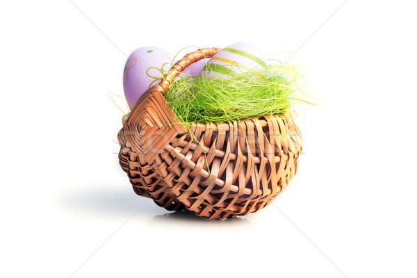 œufs de Pâques panier osier décoration Pâques heureux Photo stock © taden