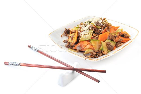 Kínai étel tányér közelkép finom étel tojás Stock fotó © taden