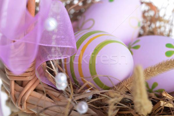 Huevos de Pascua cesta decoración heno Pascua Foto stock © taden
