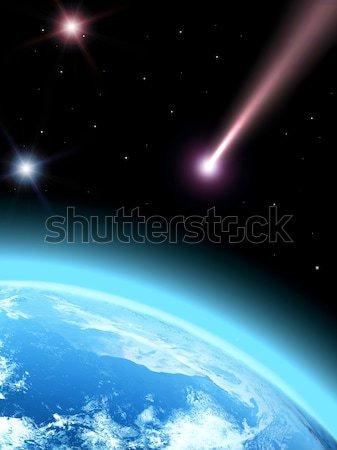 падение комета планете Земля мира солнце карта Сток-фото © taden