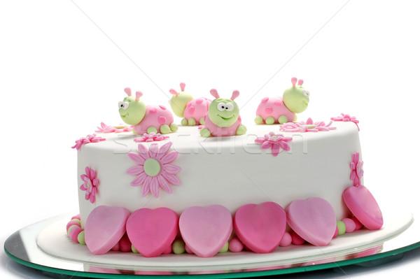 Foto stock: Pastel · de · cumpleanos · blanco · torta · estilo · crema · azúcar