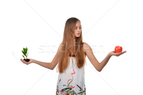 Genç kadın güzel yeşil ağaç Stok fotoğraf © taden