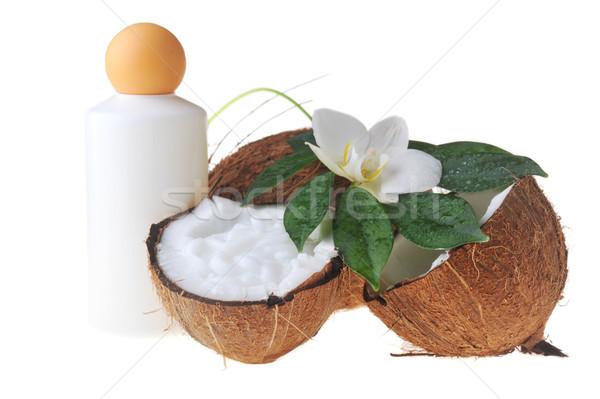 Kókusz masszázsolaj test közelkép virág gyógyszer Stock fotó © taden