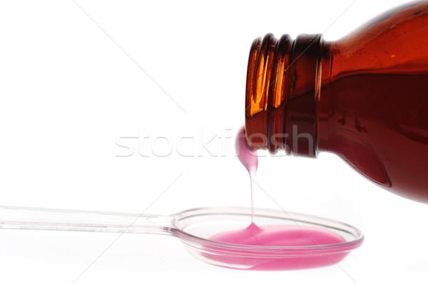 Kaşık tıbbi tablo kırmızı damla Stok fotoğraf © taden