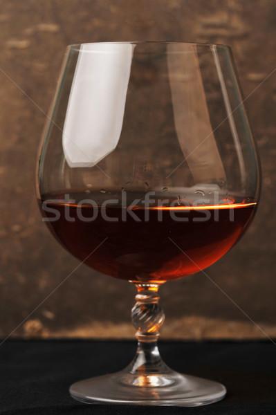 Vidro conhaque elegante tabela preto vinho Foto stock © taden