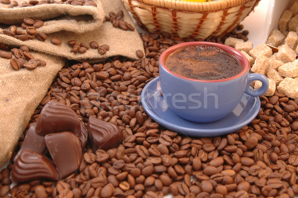 coffee beans, sugar and cup Stock photo © taden