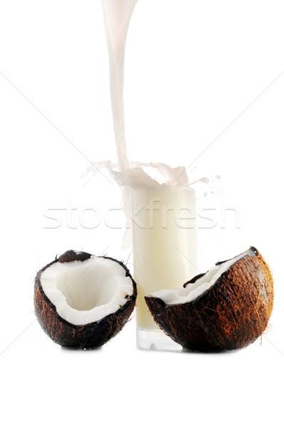 coconut juice pour in glass Stock photo © taden