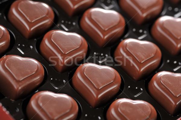 Chocolate cuadro forma de corazón delicioso primer plano papel Foto stock © taden