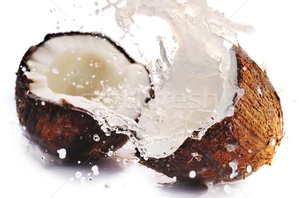 ストックフォト: ひびの入った · ココナッツ · スプラッシュ · ビッグ · 食品 · 夏