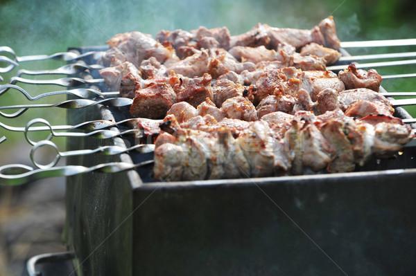 ストックフォト: 肉 · スライス · 準備 · ソース · 火災 · 煙