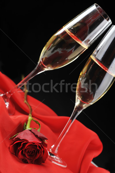 Stockfoto: Champagne · brief · mooie · steeg · lint