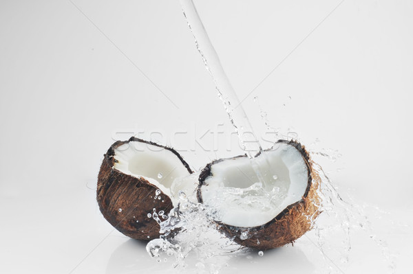 Сток-фото: треснувший · кокосового · большой · всплеск · продовольствие